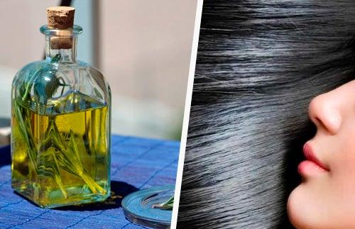 Des cheveux doux et plus foncés avec l'huile de romarin