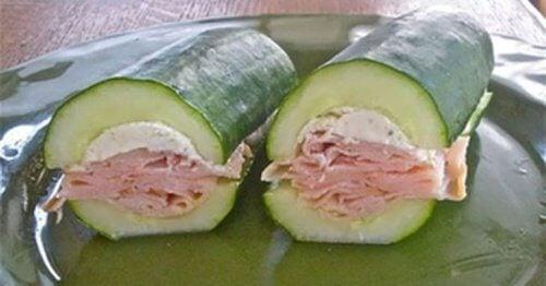 Sandwich sans pain au concombre.