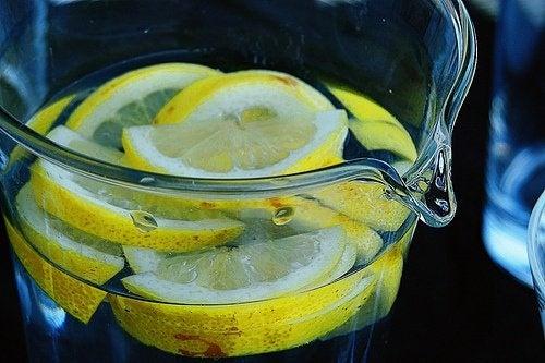 Carafe d'eau avec morceaux de citrons