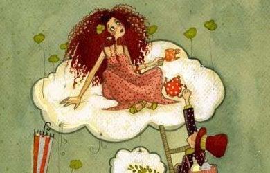 femme dans les nuages