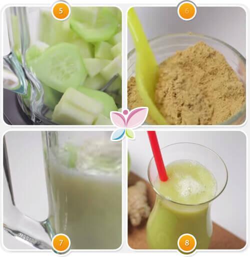 préparation du jus vert