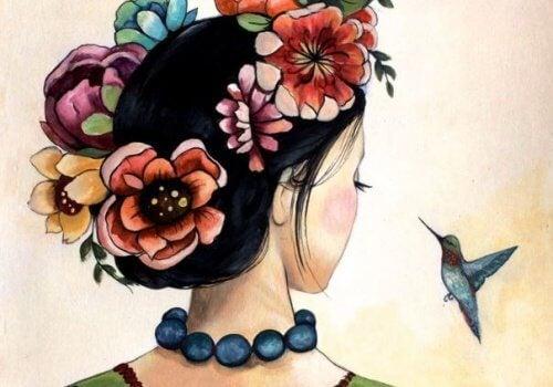 illustration - femme et oiseau