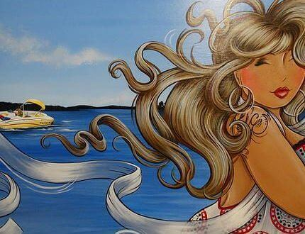 dessin de femme au bord de l'eau