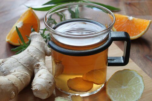 Infusion de gingembre et orange.