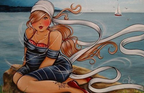 autre dessin de femme au bord de l'eau