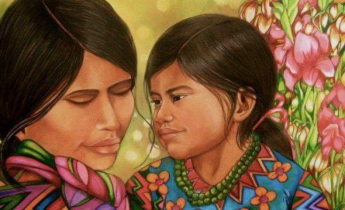 les câlins entre une mère et sa fille