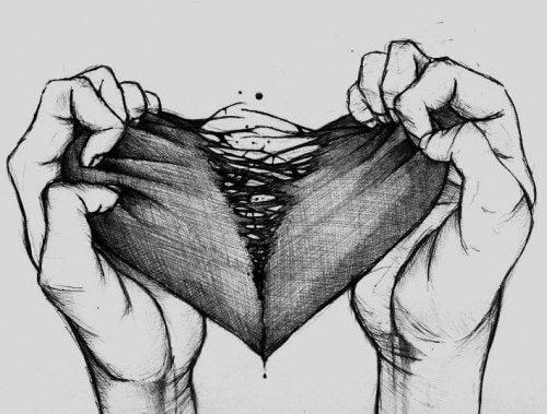 La tristesse déchire le coeur en deux.