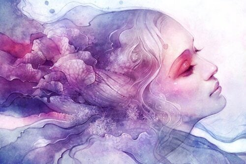 Femme-en-rose-et-bleu-representant-l'abime-des-souvenirs-500x334