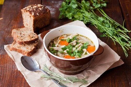Ingrédients des soupes saines.