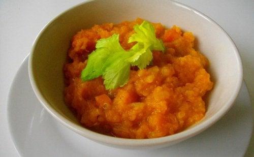 purée de courge et carotte pour la vésicule