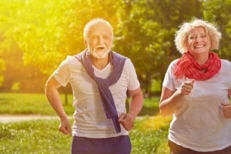 Couple âgé qui fait de l'exercice