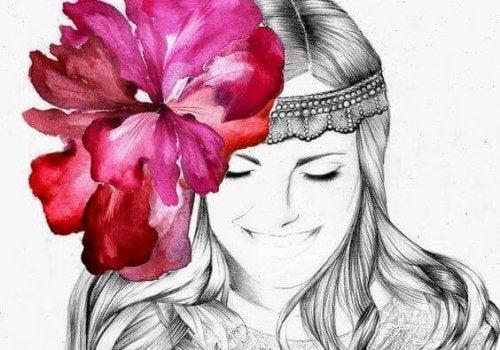 Femme-avec-fleur-sur-la-tete