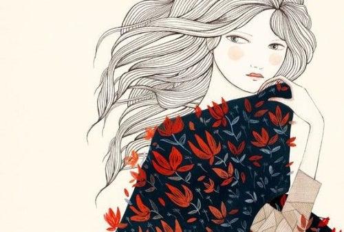 Femme-avec-une-robe-a-fleurs