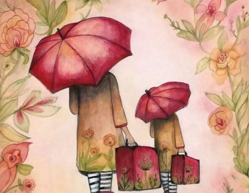 illustration- parapluie rouge