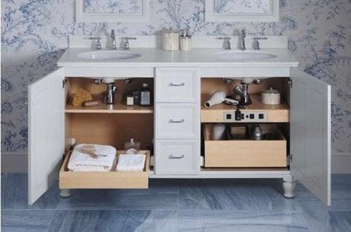armoire sous le miroir des salles de bain