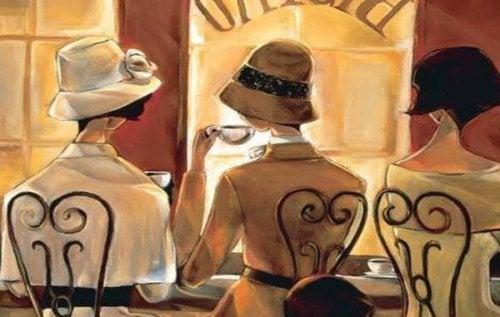 illustration de trois amies qui prennent un café