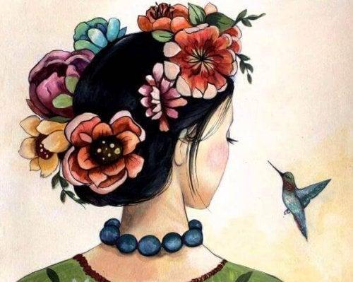 Une femme et un colibri