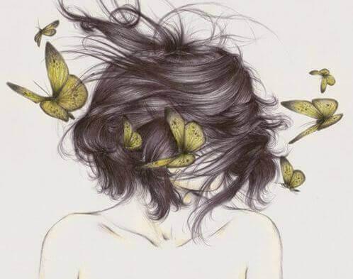 Femme-et-papillons-ce-que-l'on-tait