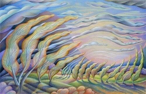 illustration d'un paysage avec des arbres