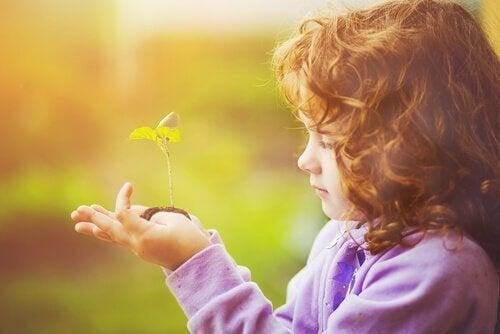 une petite fille regarde une plante pousser