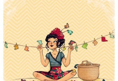 illustration d'une jeune fille heureuse