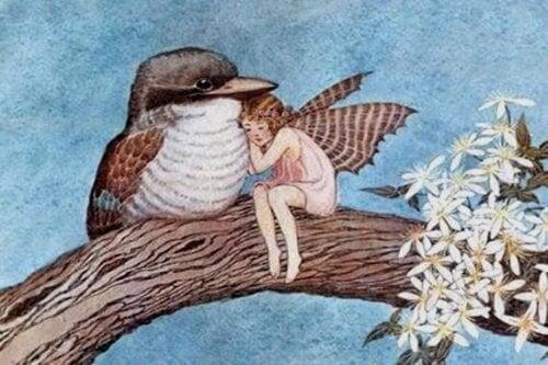 Une fée et un oiseau