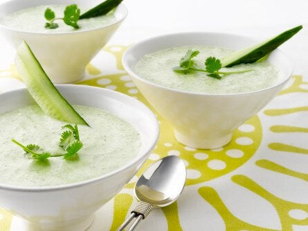 soupe froide au melon et au concombre