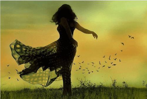 illustration - femme dans le vent