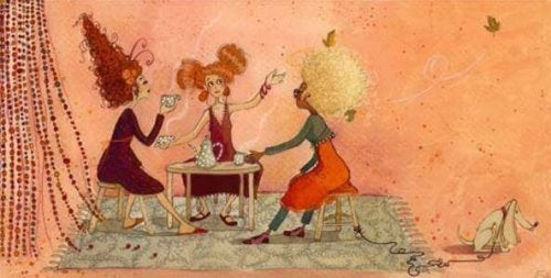 illustration d'amies prenant le café