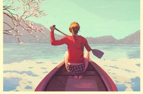 femme dans une barque