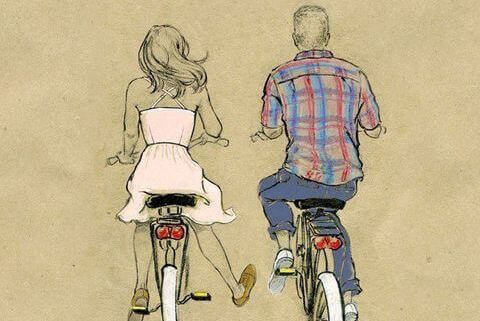 illustration d'un couple en vélo