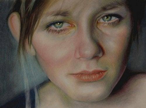 visage de femme triste