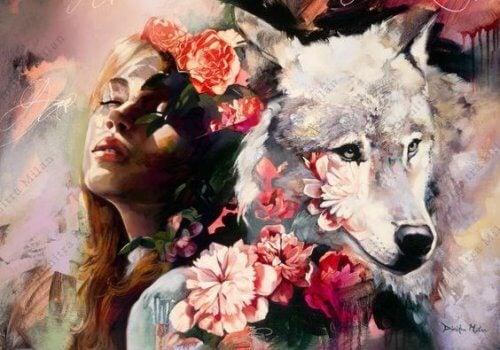illustration d'une femme et d'un loup
