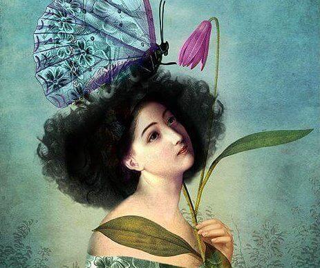 femme papillon sur la tête