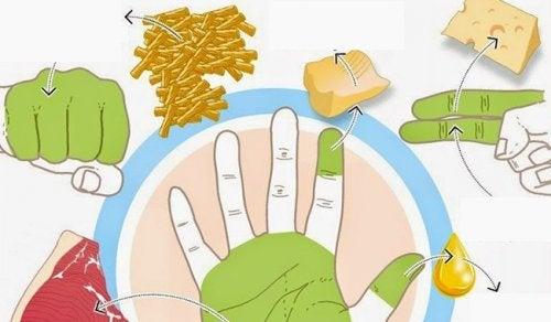 Vos mains permettent de mesurer les quantités que vous devez manger