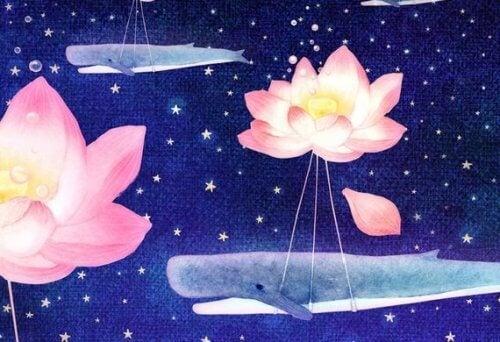 dessin baleines et fleurs - les femmes et l'égalité