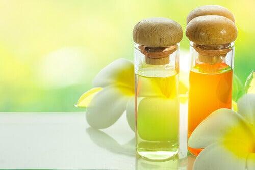 flacons d'huiles essentielles pour soigner les hallux valgus