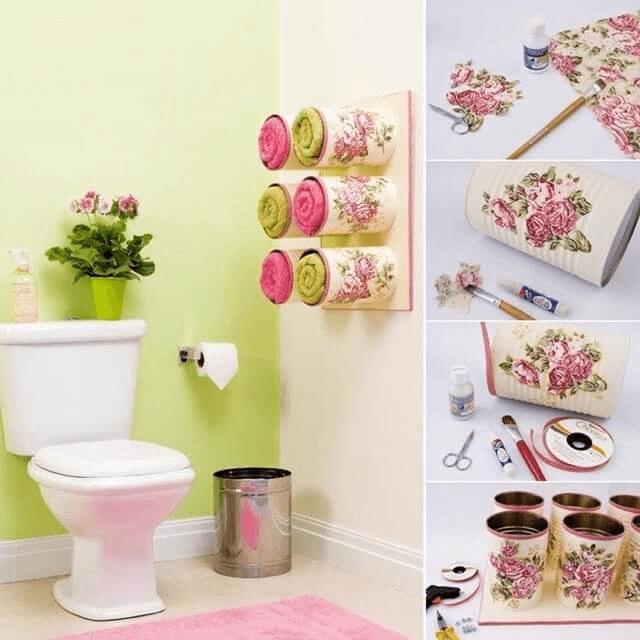 Boîtes de conserve pour la salle de bains.