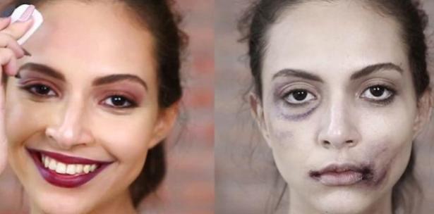 Maquillage des femmes maltraitées.