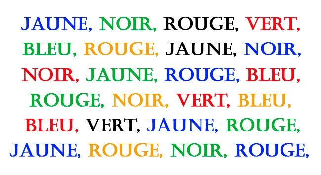 exercice du texte des couleurs pour exercer le cerveau