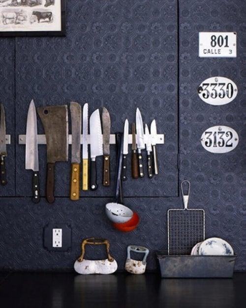 Barre magnétique couteaux de cuisine.