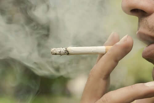 personne fumant une cigarette