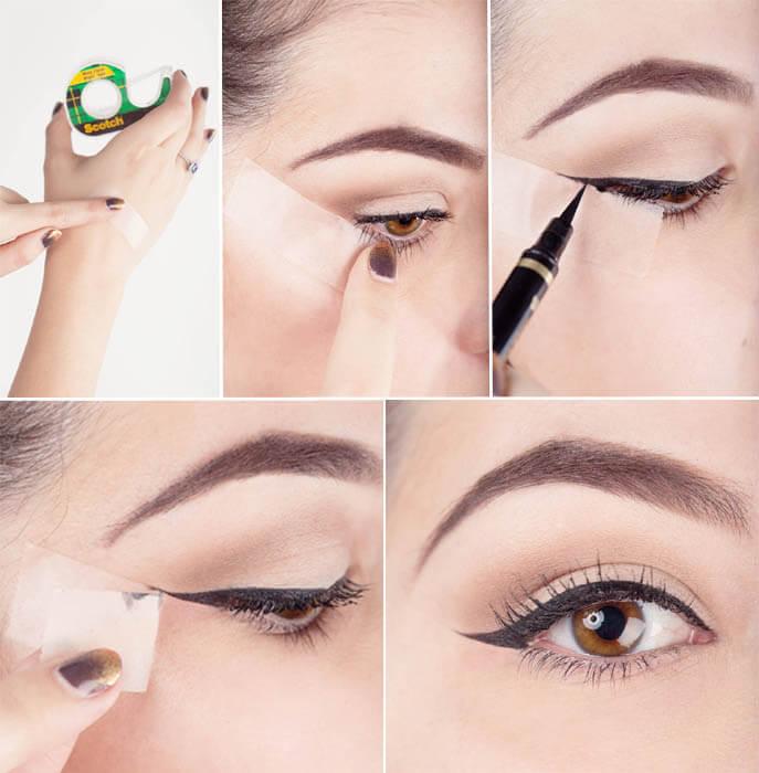 souligner les yeux ruban adhésif