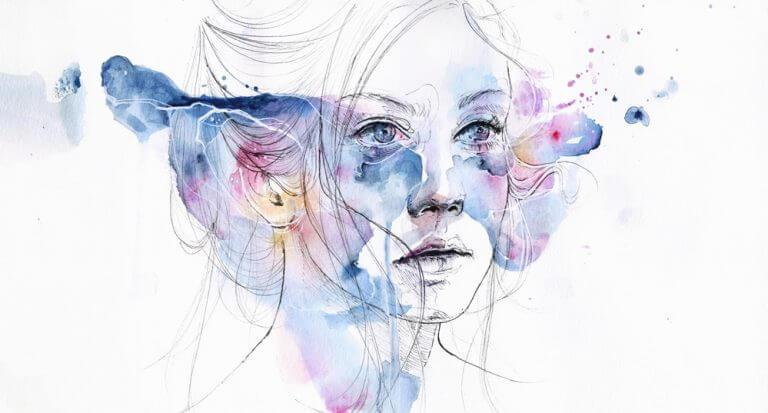 portrait de femme et tâches de couleur