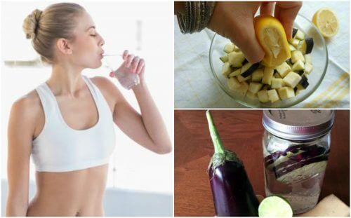 De l'eau d'aubergine avec du citron pour perdre du poids