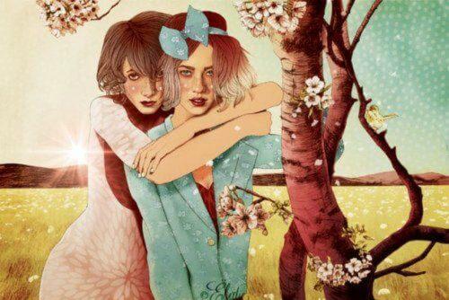 deux femmes enlacées