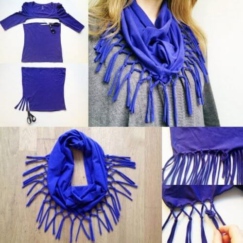 fabriquer des écharpes avec de vielles chemises en coton