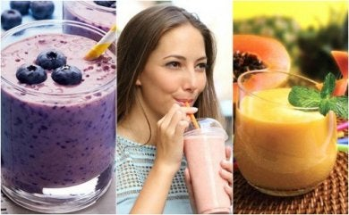 3 smoothies et une femme qui en boit un
