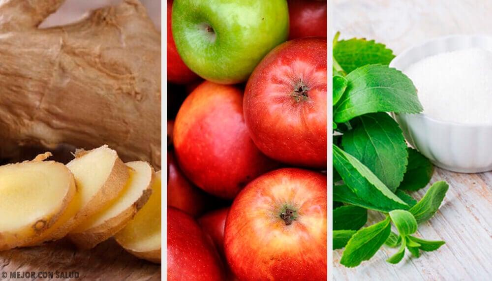 Boisson au gingembre, à la stevia et aux pommes pour compenser les excès
