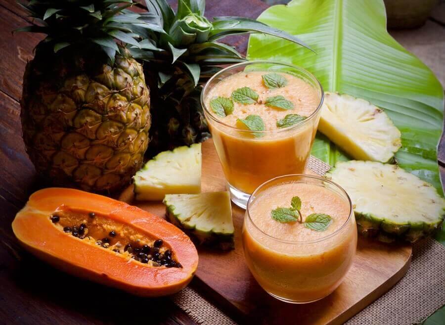 smoothie ananas et papaye